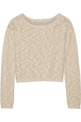 Alice Olivia Knitted Cotton Blend Sweater Nude