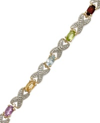 Victoria Townsend 18K Gold Over Sterling Silver Bracelet Multi Stone 3 1 5 Ct. T.W. And Diamond Accent Xo Bracelet