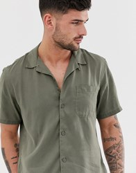 Pull And Bear Join Life Shirt With Revere Collar In Khaki Green