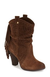 Women's Naughty Monkey 'Love Lace Cutout' Fringe Boot Tan Suede
