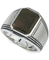 Esquire Men's Jewelry Meteorite 20 X 17Mm And Diamond 1 10 Ct. T.W. Ring In Sterling Silver Only At Macy's Black