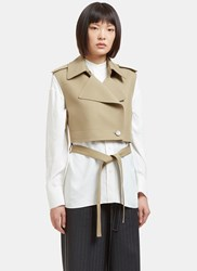 Helmut Lang Raw Twill Cropped Jacket In Khaki