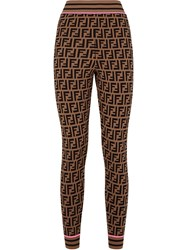 Fendi Ff Logo Knit Leggings Brown