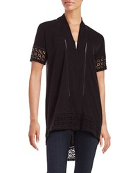 Context Lace Trim Cardigan Black