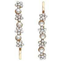 John Lewis Faux Pearl And Cubic Zirconia Hair Grips Pack Of 2 Gold