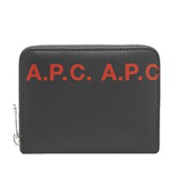 A.P.C. Logo Zip Wallet Black