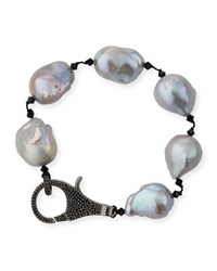 Margo Morrison Peacock Baroque Pearl And Spinel Clasp Bracelet Gray