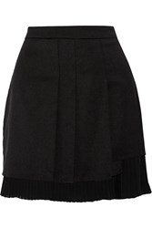 Sandro Jill Chiffon Trimmed Cady Mini Skirt Black