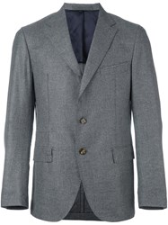 Eleventy Notched Lapel Blazer Grey
