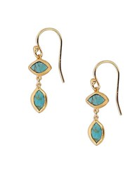 Chan Luu Turquoise And 18K Gold Plated Sterling Silver Drop Earrings Blue