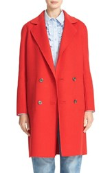 Tibi Women's Reversible Double Face Wool And Angora Long Coat Redstone
