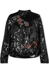 Markus Lupfer Valentine Sequined Tulle Top Black