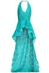Reem Acra Ruffled Guipure Lace Halterneck Top Turquoise