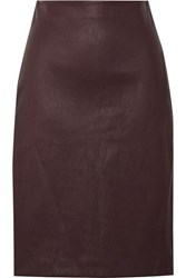 Theory Leather Pencil Skirt Burgundy