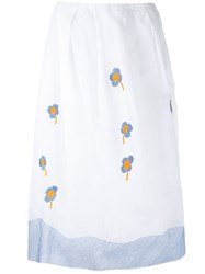Jupe By Jackie Floral Embroidery Skirt White