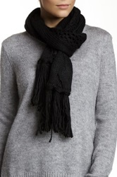 Nine West Cable Knit Open Weave Scarf Black