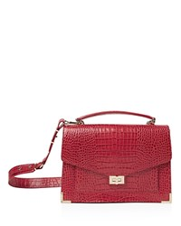 The Kooples Emily Croc Embossed Leather Maxi Crossbody Red