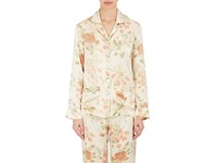 Raven And Sparrow By Stephanie Seymour Women's Tulip Print Silk Charmeuse Pajama Top Cream Pink Green