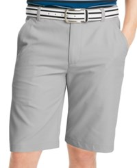 Izod Solid Flat Front Golf Shorts Silver Nickel
