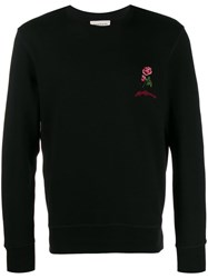 Alexander Mcqueen Embroidered Rose Crew Neck Sweater Black