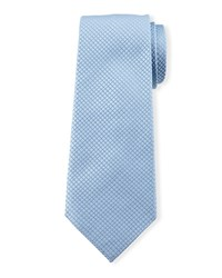 Diamond Grid Silk Tie Blue Davidoff