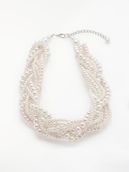 John Lewis Faux Pearl Twist Necklace Cream Pink