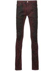 Fagassent Faded Skinny Jeans Cotton Polyurethane Red