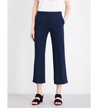 Sandro Cropped Crepe Trousers Navy Blue