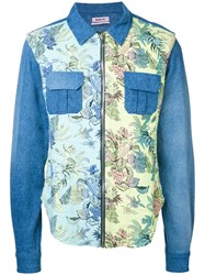 Marna Ro Floral Print Denim Shirt Blue