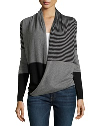 Max Studio Striped Wrap Front Long Sleeve Sweater Black Steel