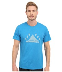 Mountain Hardwear Gnar Mountain S S Tee Heather Dark Compass Men's Short Sleeve Pullover Blue