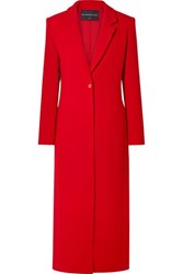 Brandon Maxwell Wool Crepe Coat Red