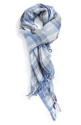 Women's Caslon Plaid Linen Blend Wrap Blue Blue Combo