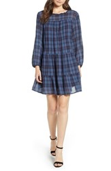 Velvet By Graham And Spencer Soft Tiered Plaid Cotton Shift Dress Dutch