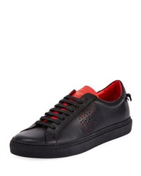 Givenchy Urban Street Leather Low Top Sneaker Black Red