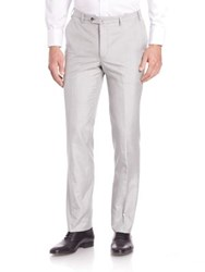 Saks Fifth Avenue Flat Front Silk Dress Pants Light Grey