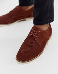 Hudson H By Chatra Woven Lace Up Shoes In Rust Suede Brown