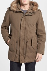 Dockers Faux Fur Hooded Khaki Jacket Beige