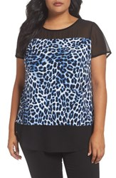 Vince Camuto Plus Size Women's Leopard Song Mixed Media Top Nile Blue