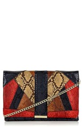 Topshop Snake Embossed Faux Leather Clutch