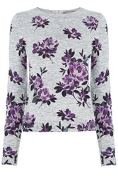 Oasis Wild At Heart Rose Print Knit Grey