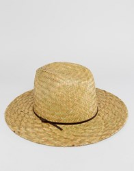 Catarzi Straw Fedora With Thin Leather Band Beige