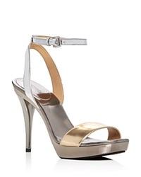 Michael Michael Kors Catarina Metallic Color Block High Heel Platform Sandals Silver Gold