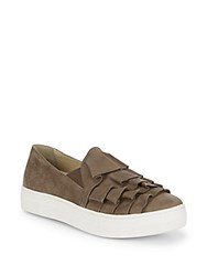 Seychelles Slip On Suede Ruffle Sneakers Taupe