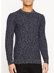 Reiss Tazer Cotton Nepp Crew Neck Jumper Navy