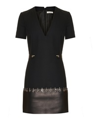 Thierry Mugler Leather Trim Short Sleeved Dress