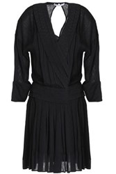 Sandro Wrap Effect Pleated Checked Voile Mini Dress Black