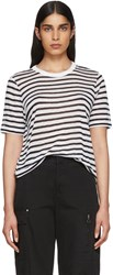 Alexander Wang T By White And Navy Striped Cropped T Shirt