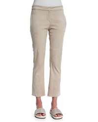Brunello Cucinelli Cropped Suede Flared Pants Beige