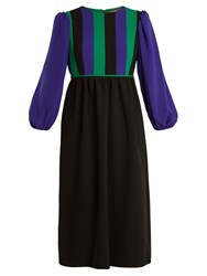 Duro Olowu Balloon Sleeve Silk Blend Crepe Dress Black Multi